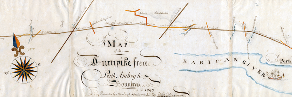 Historic map detail - Turnpike from Perth Amboy