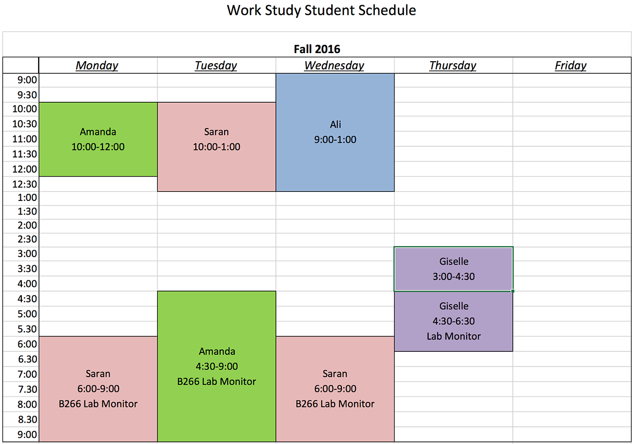 workstudy schedule fall 2016