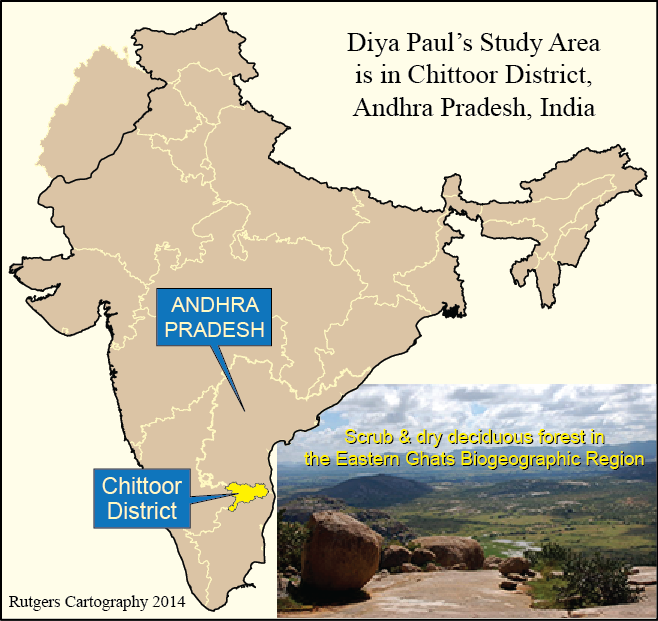 Map showing study area in the Chittoor district of Andhra Pradesh (India)